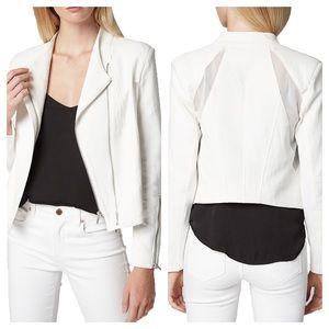 BLANK NYC Mesh Detail Crepe Moto Jacket Zips White